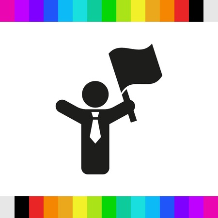 raise the white flag: man with flag in hand icon stock vector illustration flat design Illustration