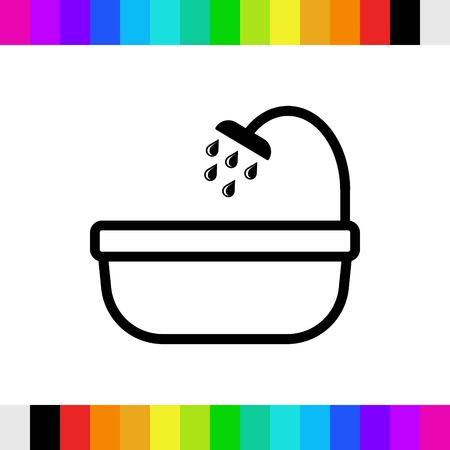 bathroom and shower icon stock vector illustration flat design