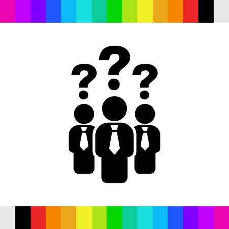 question mark over people icon stock vector illustration
