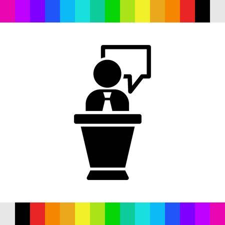 Lutrin avec microphone icône illustration vectorielle design plat