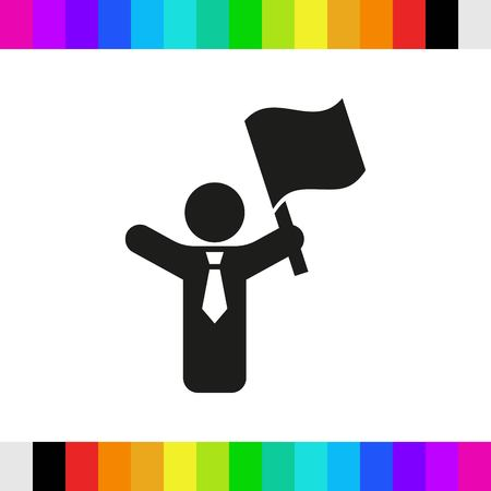 man with flag in hand icon stock vector illustration flat design Illustration