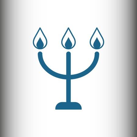 Bougies sur une icône de chandelier, illustration vectorielle. Style design plat Banque d'images - 79239045