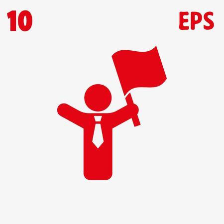 raise the white flag: icon stock vector illustration flat design style Illustration