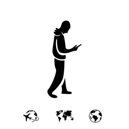 hand touch: man goes with the phone in hand icon vector flat design