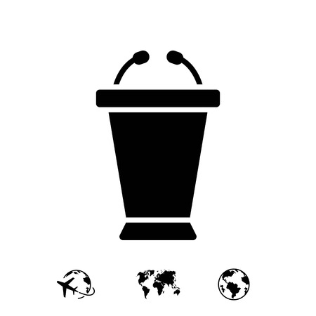 spokesman: lectern with microphone icon stock vector illustration flat design