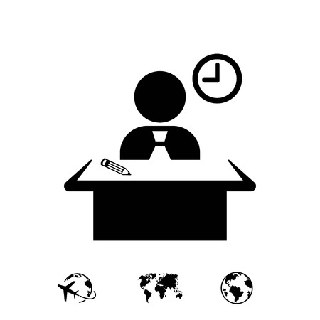 man sitting at the table icon stock vector illustration flat design