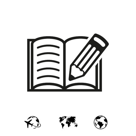 open book and pencil icon stock vector illustration flat design 向量圖像