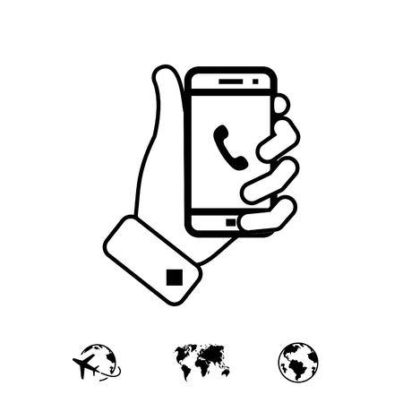 phone in hand icon stock vector illustration flat design
