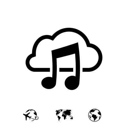 music upload download to the cloud icon stock vector illustration flat design 向量圖像