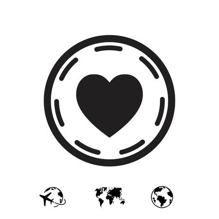 heart in circle icon stock vector illustration flat design 向量圖像