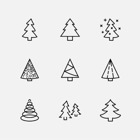 Christmas Tree thin line icon set. Stylized linear icons of artificial snow, spruce, present box fir. Editable Stroke. 32x32 Pixel Perfect
