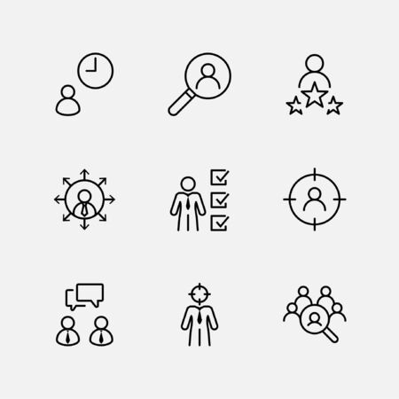 Set of Head Hunting Related Vector Line Icons. Contains such Icons as Career growth, Bulb, Candidate, Search, CV, Card Index, Outsource and more. Editable Stroke. 32x32 Pixel Perfect Illustration