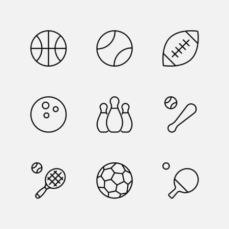 Set of Sports balls, hobbies, entertainment vector line icons. It contains symbols of football, basketball, bowling, tennis and much more. Editable Stroke. 32x32 pixels.