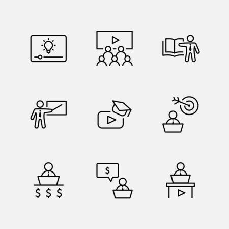 Set di icone di linea del vettore relative alla formazione aziendale. Contiene icone come Insegnante, Classe, Presentazione, Video, Libro, Mentoring, Target e altro. Tratto modificabile. 32x32 pixel.
