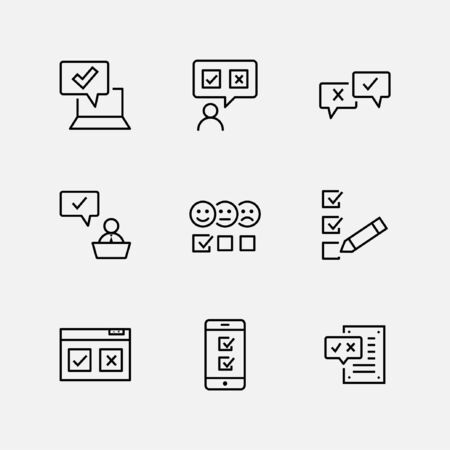 Set of Survey Related Vector Line Icons. Contains such Icons as Smile, Sad, Review, Click, Check, Customer Opinion, Web Survey and more. Editable Stroke. 32x32 Pixel Perfect