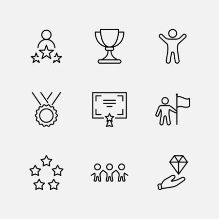 Set of Success Related Vector Line Icon. Contains such Icons as Cup, Ribbon, Star, Winner, Reward and more.Editable Stroke. 32x32 Pixel Perfect