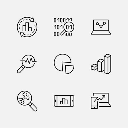 Set of Data Analysis Related Technology Vector Line Icons. Contains such Icons as Charts, Search, Graphs, Traffic Analysis, Big Data and more. Editable Stroke. 32x32 Pixel Perfect Illustration