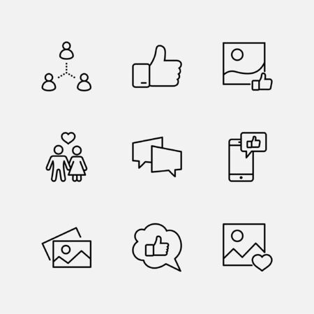 Set of Social Networks Related Vector Line Icons. Contains such Icons as Profile Page, Rating, Social Links and more. Editable Stroke. 32x32 Pixel Perfect. Illustration