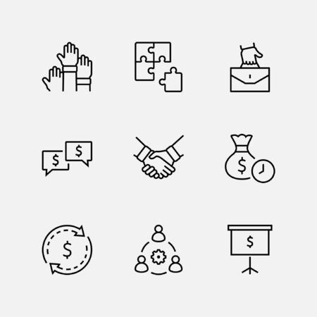 Set of Business Cooperation Vector Line Icons. Contains such Icons as Puzzle, Partnership, Money, Handshake, Dollars, Team, Synergy, Work, Interaction and more.Editable Stroke. 32x32 Pixel Perfect.