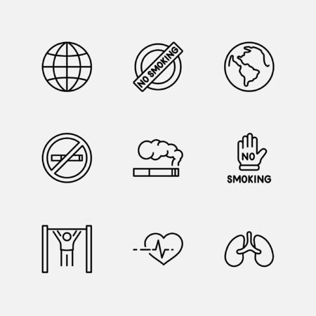Internationale dag zonder tabak instellen lijn Vector Icons. Bevat iconen als longen, sigaren, sigaretten, roken, Globe, stoppen met roken en meer. Bewerkbare lijn 32x32 pixels Vector Illustratie