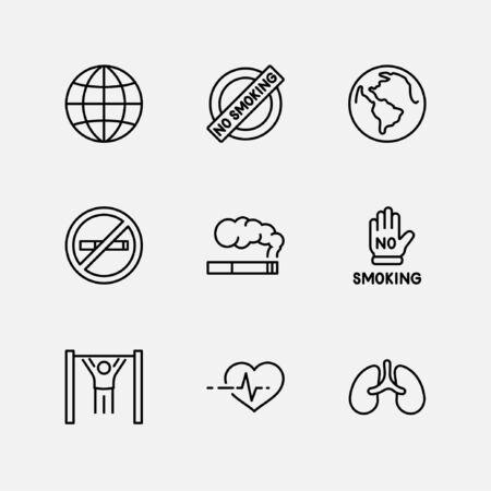Międzynarodowy dzień bez tytoniu zestaw ikon wektorowych linii. Zawiera takie ikony jak Płuca, Cygara, Papierosy, Palenie, Kula ziemska, Zaprzestanie palenia i inne. Edytowalny obrys 32x32 piksele Ilustracje wektorowe
