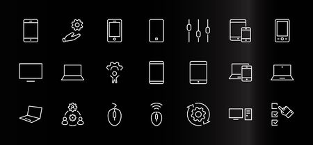 Set of Smart Devices and gadgets, computer equipment and electronics. Electronic devices icons for web and mobile vector line icon. Editable Stroke. 32x32 pixels. Illustration