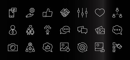 Set of Social Networks Related Vector Line Icons. Contains such Icons as Profile Page, Rating, Social Links and more. Editable Stroke. 32x32 Pixels Illustration