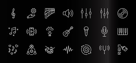 Set of Music Related Vector Line Icons. Contains such Icons as Pan Flute, Piano, Guitar, Treble Clef, In-ear and more. Editable Stroke. 32x32 Pixels Banque d'images - 138762864