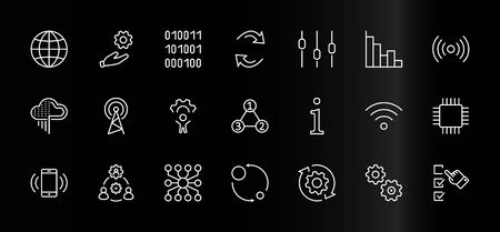 Set of Data Analysis Related Technology Vector Line Icons. Contains such Icons as Charts, Wi-fi, Graphs, Traffic Analysis, Big Data and more. Editable Stroke. 32x32 Pixels