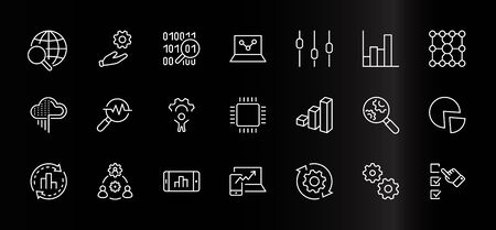 Set of Data Analysis Related Technology Vector Line Icons. Contains such Icons as Charts, Search, Graphs, Traffic Analysis, Big Data and more. Editable Stroke. 32x32 Pixels