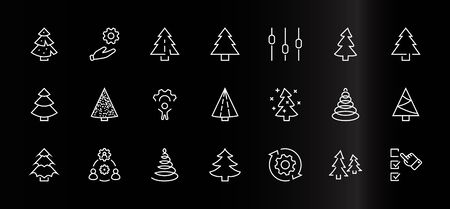 Christmas Tree thin line icon set. Stylized linear icons of artificial snow, spruce, present box fir. Editable Stroke. 32x32 Pixels