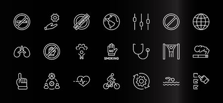 International No Tobacco Day Set Line Vector Icons. Contains such Icons as Lungs, Cigars, Cigarettes, Smoking, Globe, smoking Cessation and more. Editable Stroke 32x32 Pixels