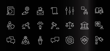Set of Law and justice Vector Line Icons. Contains such Icons as weapon, arrest, authority, courthouse, gavel, legal, weapon and more. Editable stroke. 32x32 Pixels. Ilustrace