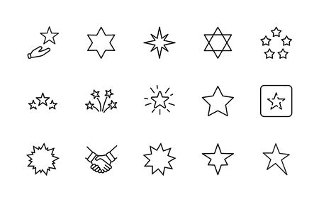 Set of Stars Vector Line Icons. Contains such Icons as Starry night, falling star, firework, twinkle, glow, glitter burst and more. Outline signs for glossy material. Editable Stroke. 32x32 Pixels