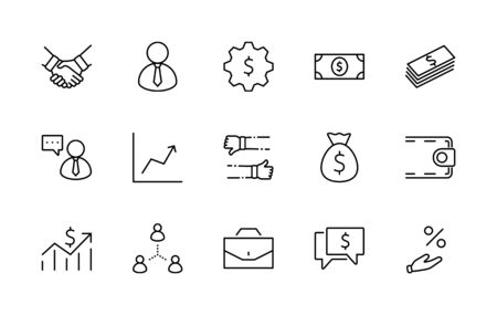 Set of Business vector line icons. It contains symbols of a handshake, a user, dollar pictograms, gears, a briefcase, a bag of money, a schedule and much more. Editable Stroke. 32x32 pixels. 矢量图像