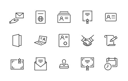 Set of Legal Documents Related Vector Line Icons. Contains such Icon as Visa, Contract, Declaration, License, Permission, Grant and more. Editable Stroke. 32x32 Pixel Perfect 矢量图像