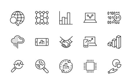 Set of Data Analysis Related Technology Vector Line Icons. Contains such Icons as Charts, Search, Graphs, Traffic Analysis, Big Data and more. Editable Stroke. 32x32 Pixel Perfect