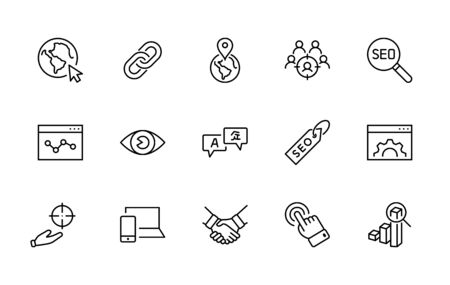 Set of SEO Related Vector Line Icons. Contains such Symbols as Web icon, Eye, Localization, Link, Traffic, Translate, Performance Tracking, Point and more. Editable Stroke. 32x32 Pixel Perfect 矢量图像