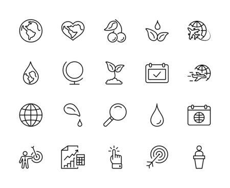 Earth Day Vector Line Icons Set. Editable Stroke. 32x32 Pixels 矢量图像