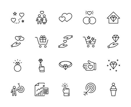 International Jeweler Day Set Line Vector Icons. Contains such Icons as Love, Heart, Hand, Family, Wedding Rings, Diamond, Jewelry store, Gift, Basket and more. Editable Stroke. 32x32 Pixels 矢量图像
