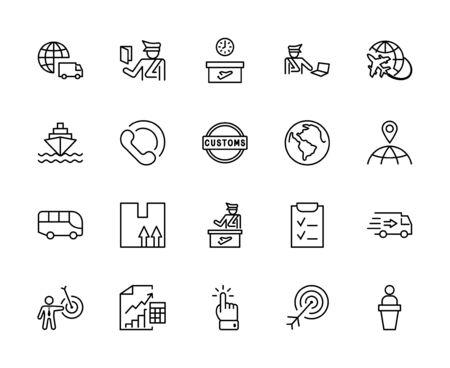 International Customs Day Set Line Vector Icons. Editable Stroke. 32x32 Pixels