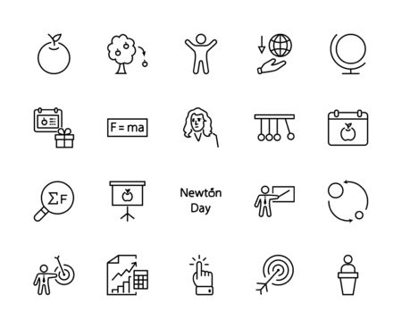 Newton's Day Set Line Vector Icon. Contains such Icons as Newton, Laws of physics and gravity, Flying Apple, Calendar, Teacher, blackboard and projector Editable Stroke. 32x32 Pixels 矢量图像