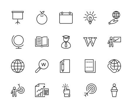 Wikipedia's birthday Set Line Vector Icon. Contains such Icons as Wikipedia, Open Book, Teacher, Blackboard, Pointer, Web Globe, Directory, Search, Lamp, Calendar. Editable Stroke. 32x32 Pixels