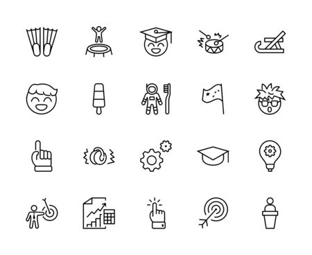 International World Day of Children's Inventions Set Line Vector Icon. Contains such Icons as Toothbrush astronauts, Trampoline, Flippers, Frozen juice, earmuffs. Editable Stroke. 32x32 Pixels