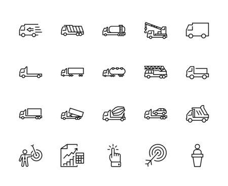 Ensemble de camions d'icônes de ligne vectorielle de transport. Contient des icônes telles que camion, transport, dépanneuse, grues, mélangeur, camion à ordures, manipulateurs, service de livraison et plus encore. Course modifiable. 32x32 pixels Vecteurs