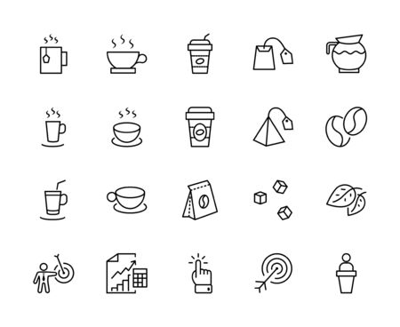 Set of Coffee and Tea Vector Line Icons. Contains such Icons as Cup of Tea, Teabags, Coffee beans and Green Tea Leaves, a pitcher of Water, Sugar Cubes and more. Editable Stroke. 32x32 Pixels 矢量图像