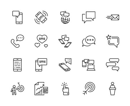 Set of Message Vector Line Icons. Contains such Icons as Conversation, SMS, Heart, Love Chats, Notification, Group Chat and more. Editable Stroke. 32x32 Pixels 矢量图像