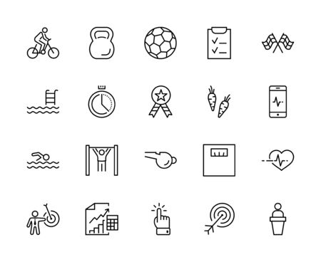 Set of Fitness Vector Line Icons. Contains such Icons as Cycling, Kettlebell Sport, Soccer Ball, Heartbeat, Workout, Stopwatch, Timer, Diet Plan, Sport Nutrition and more. Editable Stroke. 32x32 Pixels 矢量图像