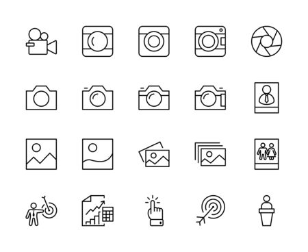 Set of Cameras and photo, vector line icons. Contains symbols of portraits and family photos and much more. Editable Stroke. 32x32 pixels.