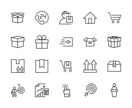 Set of Shipping vector line icon. It contains symbols to box, home and more. Editable Stroke. 32x32 pixels. 矢量图像